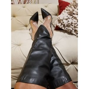 Lucite Knee High Wedge Boots